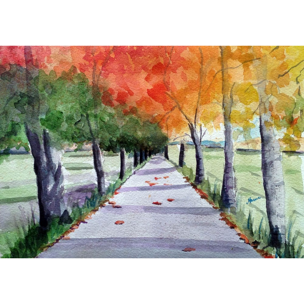 """Fall Street"" Print - Marina's Watercolors"