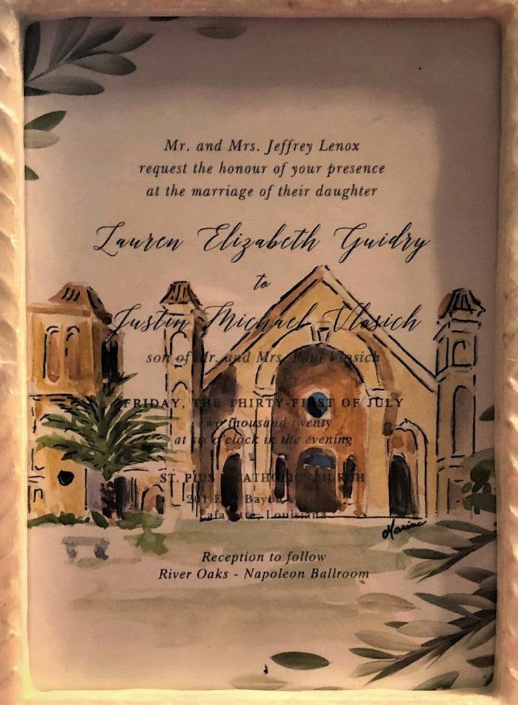 Watercolor of Church on Wedding Invitation - Marina's Watercolors