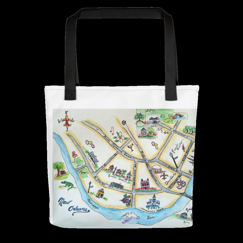 New Orleans Map - All-Over Print Tote - Marina's Watercolors