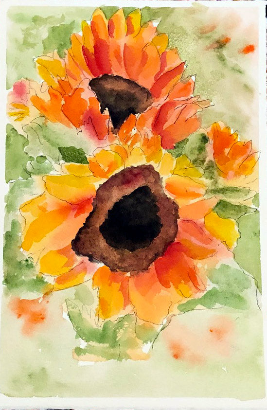 Sunflower Burst. - Marina's Watercolors