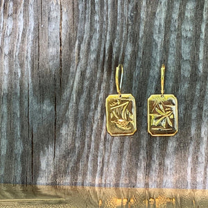 Damascene Bird Earrings