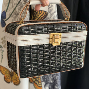 Black & White Rattan bag