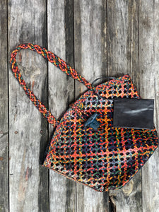 Woven Leather Cane wicker bag