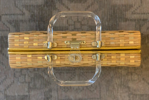 Woven Gold WIcker Briefcase