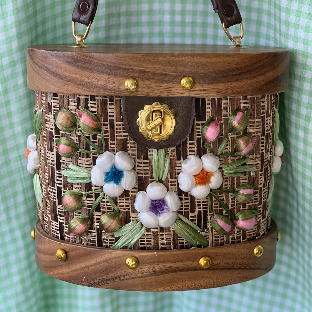 Wood Handbag with Embroidered Flowers