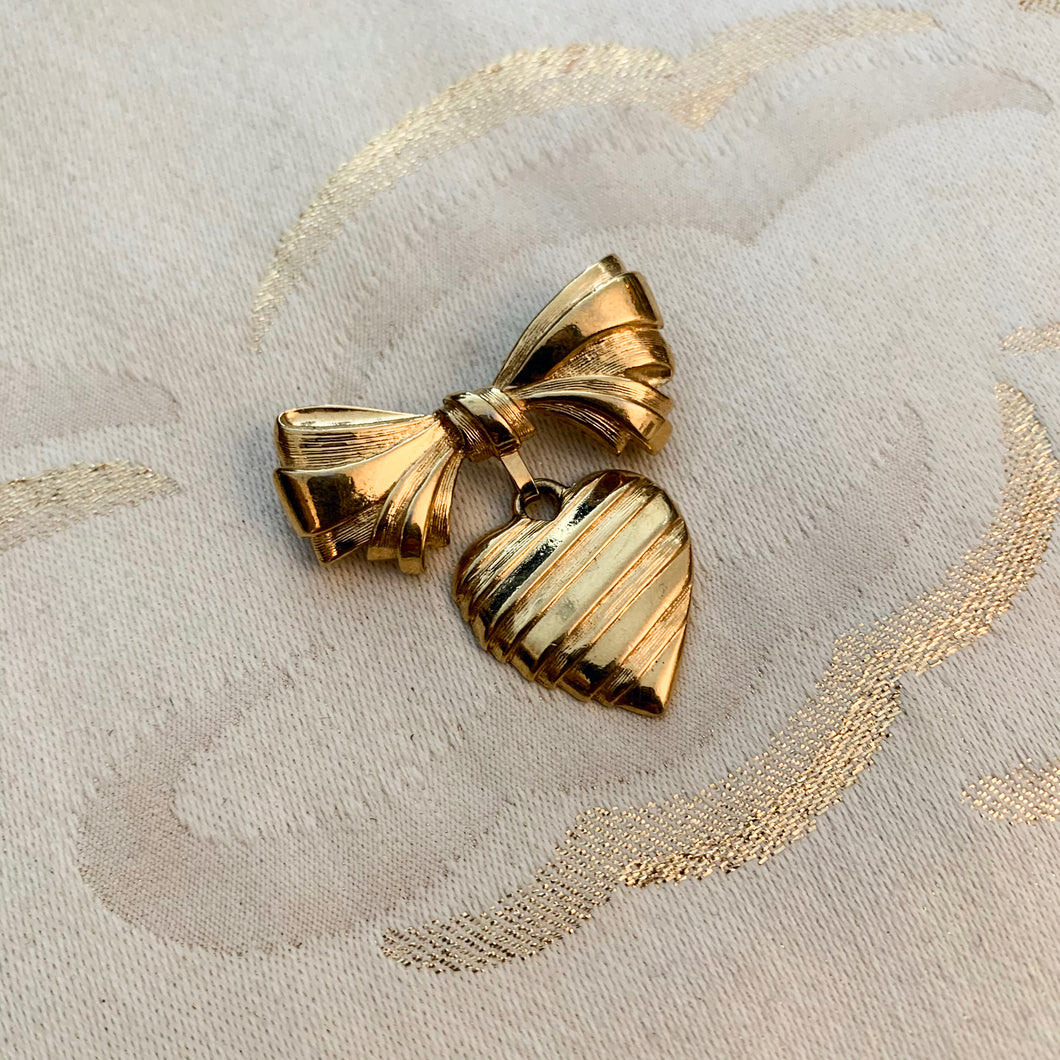 Heart & Bow Brooch Pin