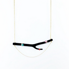 Load image into Gallery viewer, Black Coral & Gem Necklace