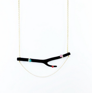 Black Coral & Gem Necklace