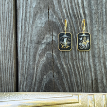 Load image into Gallery viewer, Mountain top Damascene earrings
