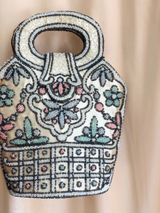 Beaded silk handbag