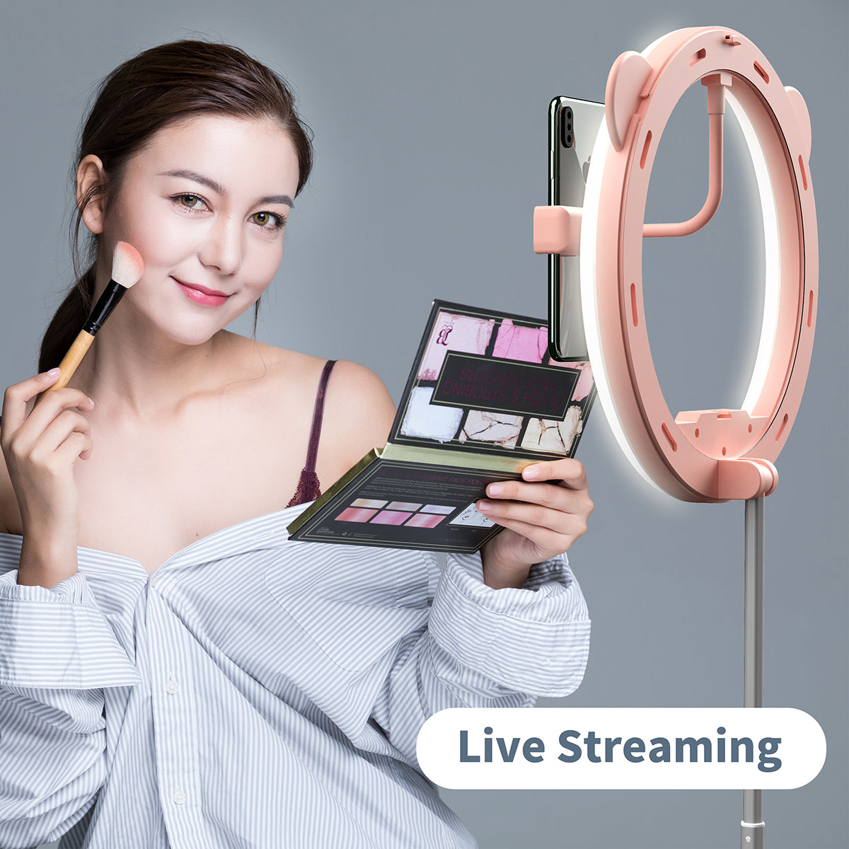 Zecti 10 inch Ring Light with Stand and Phone Holder, LED Selfie Light Ring with Dimmable 3 Color Modes and 10 Brightness for Live Stream Makeup Photography Compatible with iPhone Xs Android-Pink