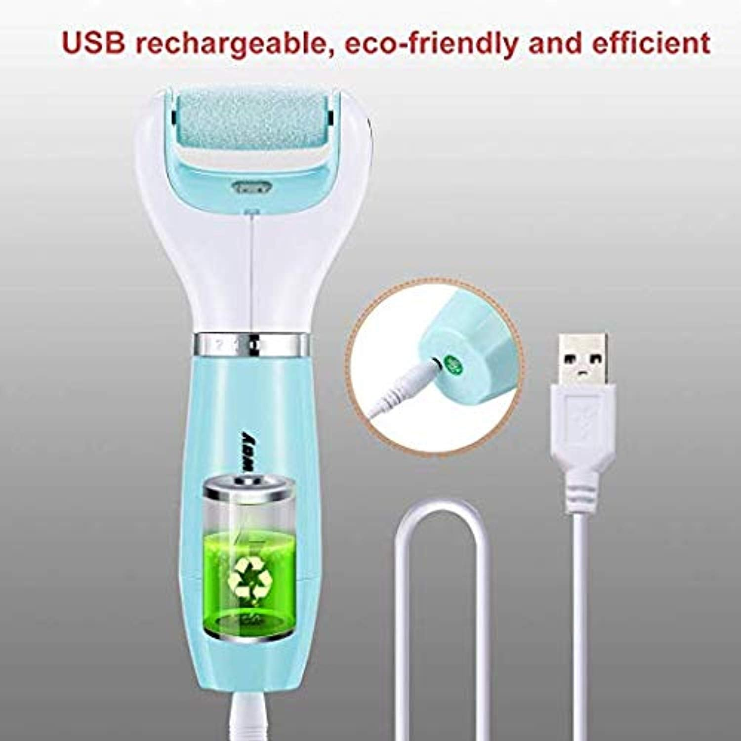 Ankway Professional USB Rechargeable Electric Callus Remover Tool for Men&Women for Remove Dead Rough Cracked Skin, Pedicure Foot Care Tool with 3 Rollers 1 Foot File
