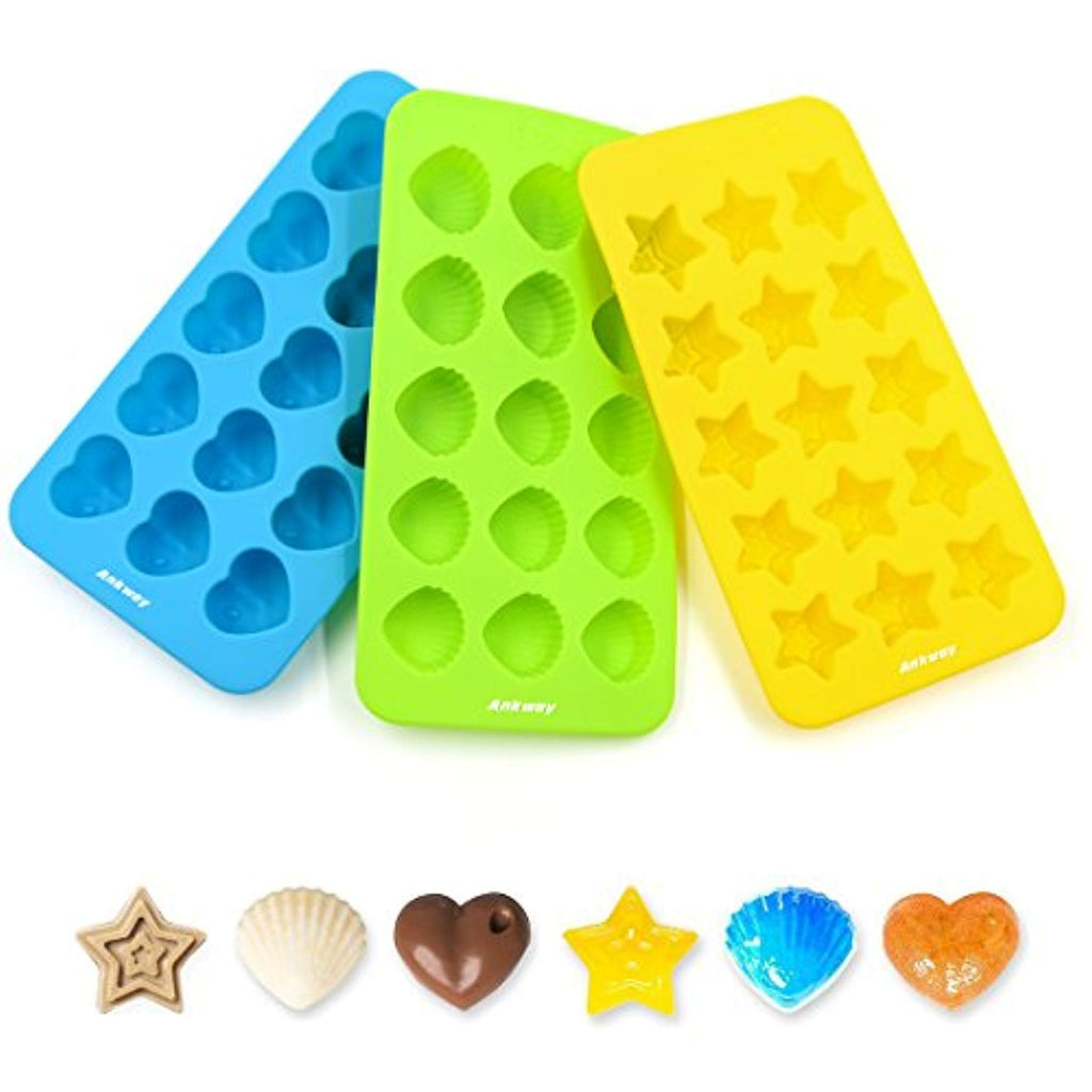 Candy Chocolate Molds Silicone Ice Cube Trays Set of 3 - Ankway Non Stick BPA Free 15-Cavity Hearts, Stars & Shells Baking Wax Molds Flexible Small Ice Maker Molds