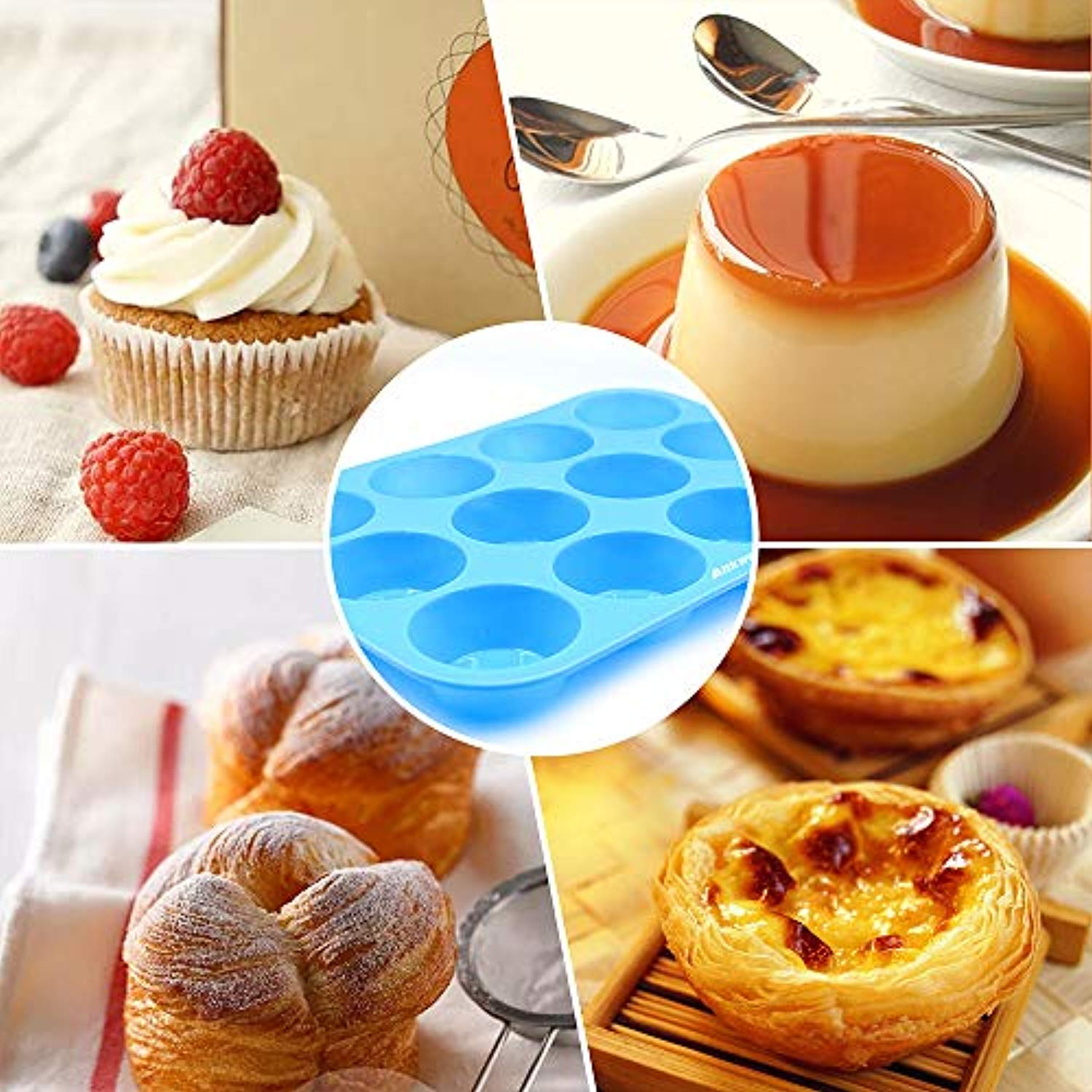 Silicone Muffin Pan Set of 2, Ankway 12+24 Cups Non-stick Silicone Molds Reusable Food Grade Cupcake Baking Pans, BPA Free, Heat Resistant up to 450°F, Dishwasher and Microwave Safe (blue)