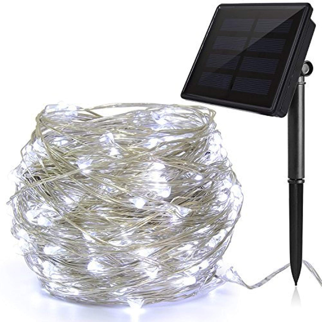 Ankway Solar Christmas Lights White 200 LED 3-Strand Copper Wire Solar String Lights 8-Mode 72ft Solar Powered String Lights Waterproof IP65 LED Outdoor Lights String for Tree Window Fence House Patio