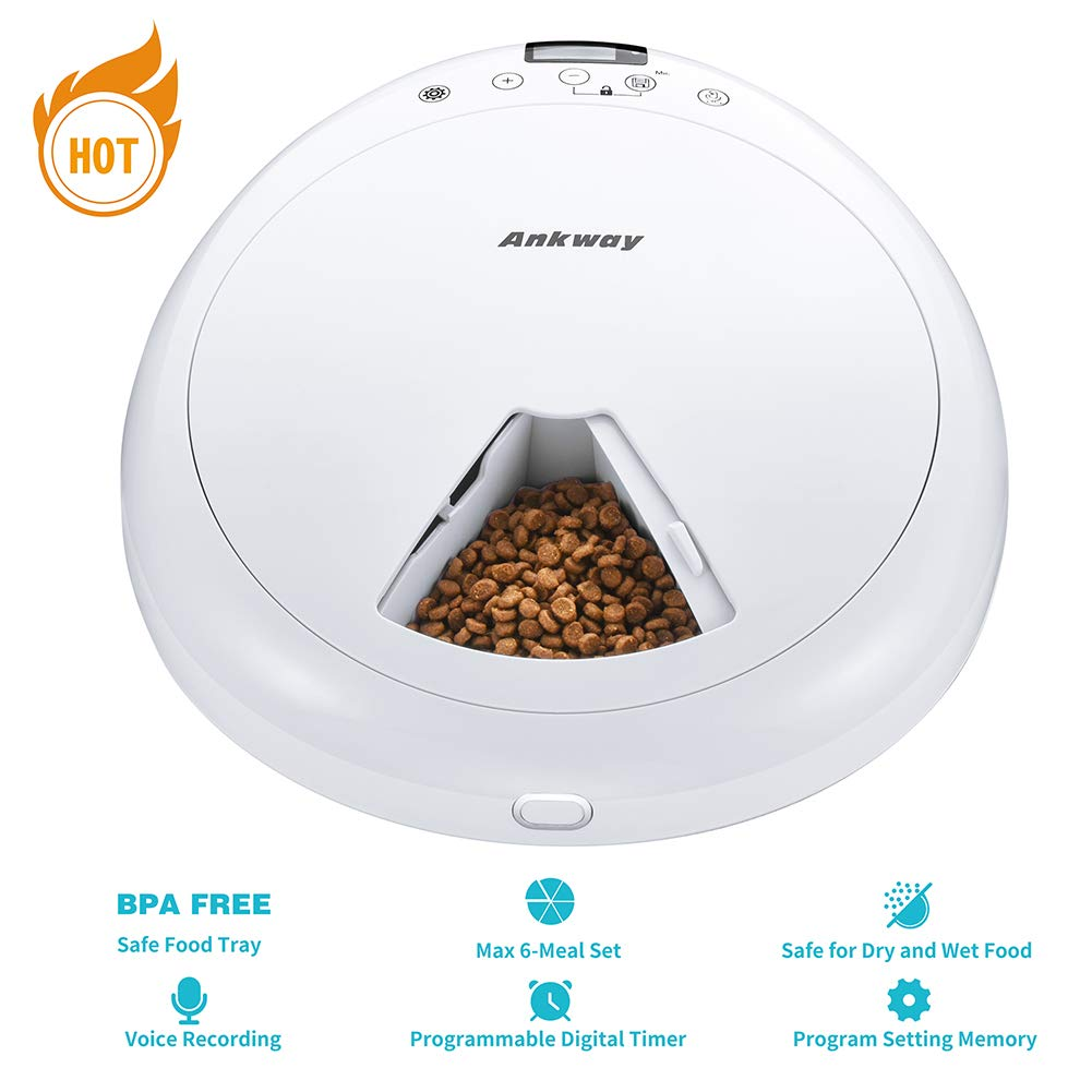 Ankway Automatic Pet Feeders, 6-Meal Dog and Cat Feeder with Programmable Digital Timer and Music, Portion Control & Voice Recording, Dry or Semi-Moist Puppy/Kitten/Bunny Food Dispenser