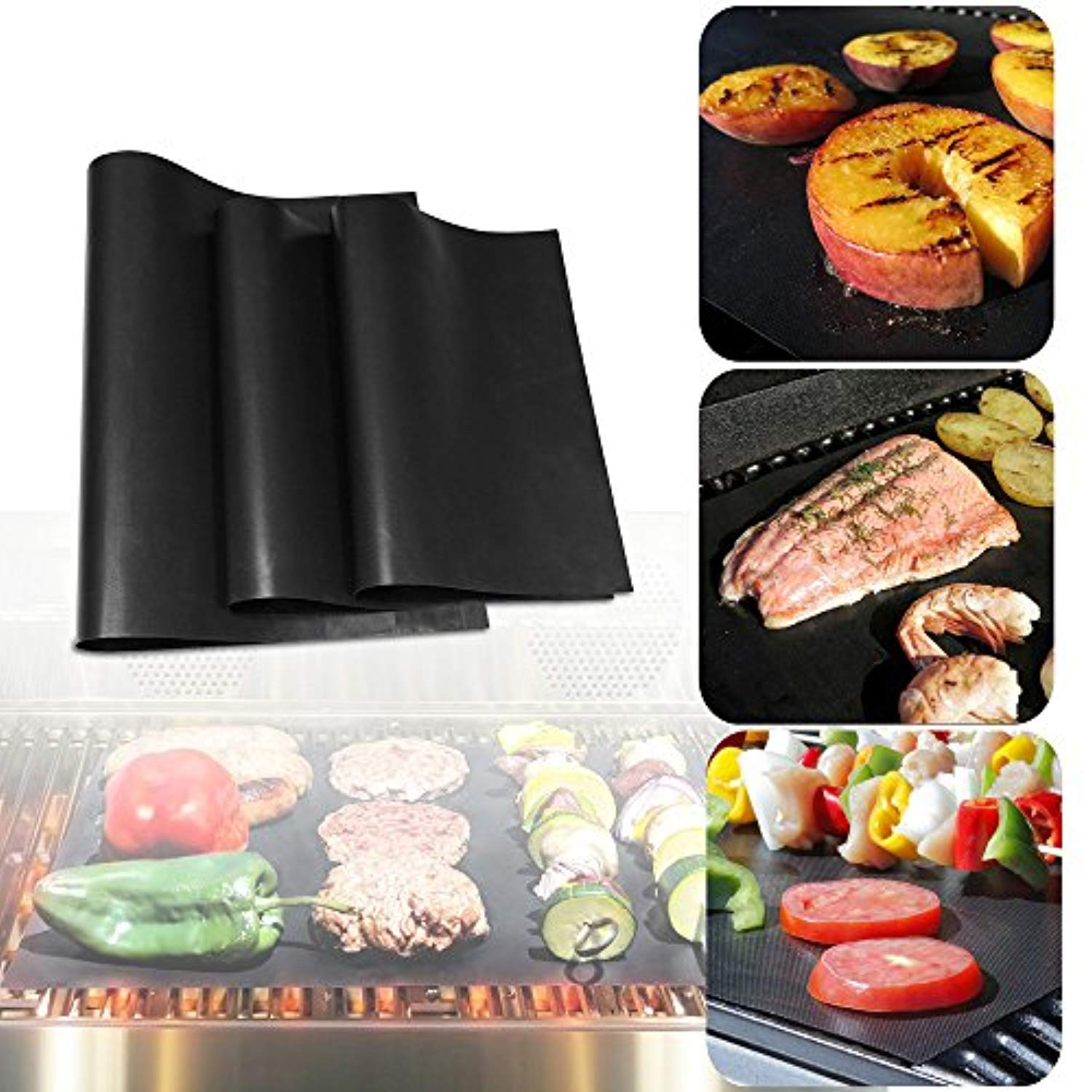 "Ankway Non Stick Grilling Mats, (Set of 3) Non Stick Grill Mats Reusable Heavy Duty BBQ Grilling Mats for Gas, Charcoal, Electric Grill (1pcs 20"" X 16"", 2pcs 16"" X 13"")"