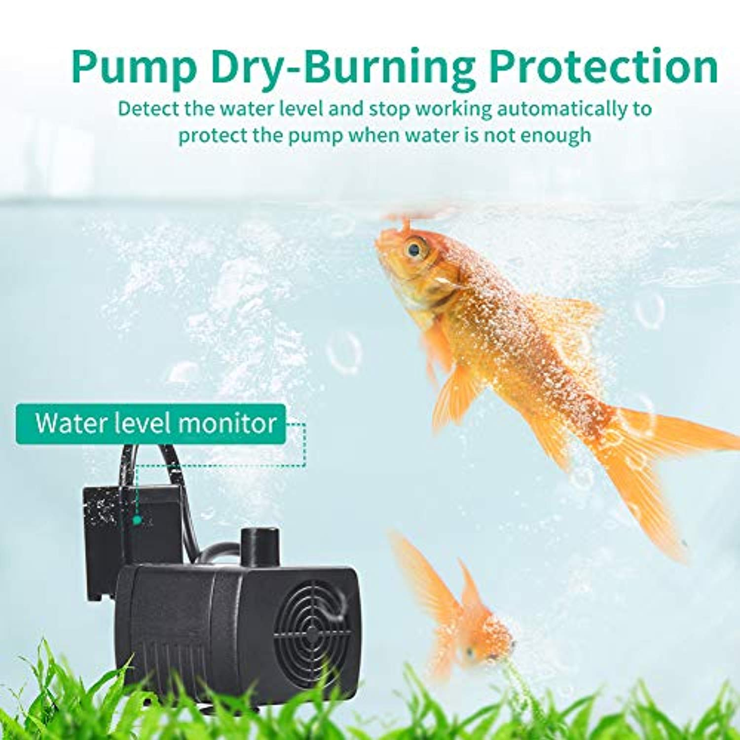 Ankway Little Water Pump 6.5ft/2M USB Cord, Ultra Quiet Submersible Water Pump with Anti-Dry Protection Mini Submersible Water Pumping for Aquarium Fish Tank Fountain Hydroponics Statuary