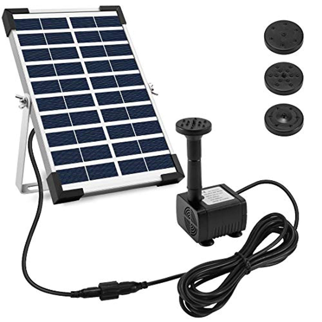"Ankway Solar Fountain Pump 5W 128"" Wire Length Solar Powered Water Pump with Adjustable Solar Panel Tilt Mount Brackets for Pond Pool Submersible Outdoor Garden Solar Water Fountain Pump Kit"