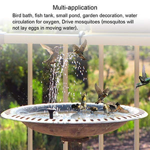 Ankway Solar Bird Bath Fountain Pump, Free Standing Solar Fountain Water Pumps Panel Kit Outdoor Birdbath Watering Submersible Pump for Garden and Patio