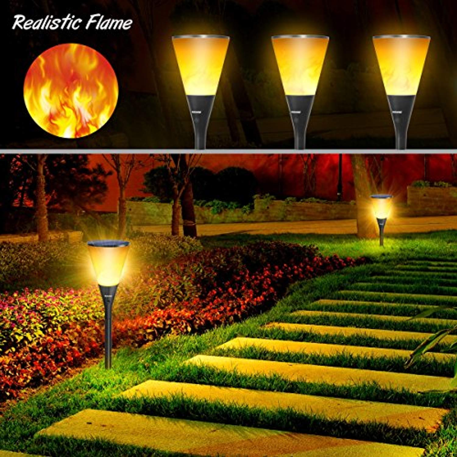 "Ankway Aky11 Solar Lights 4 Installation Ways 96 Flaming Bulb Dancing Torches Waterproof IP65 for Outdoor Garden Pathway Patio Wall Indoor, 11.5 x 7.5 x 2"", Warm White"