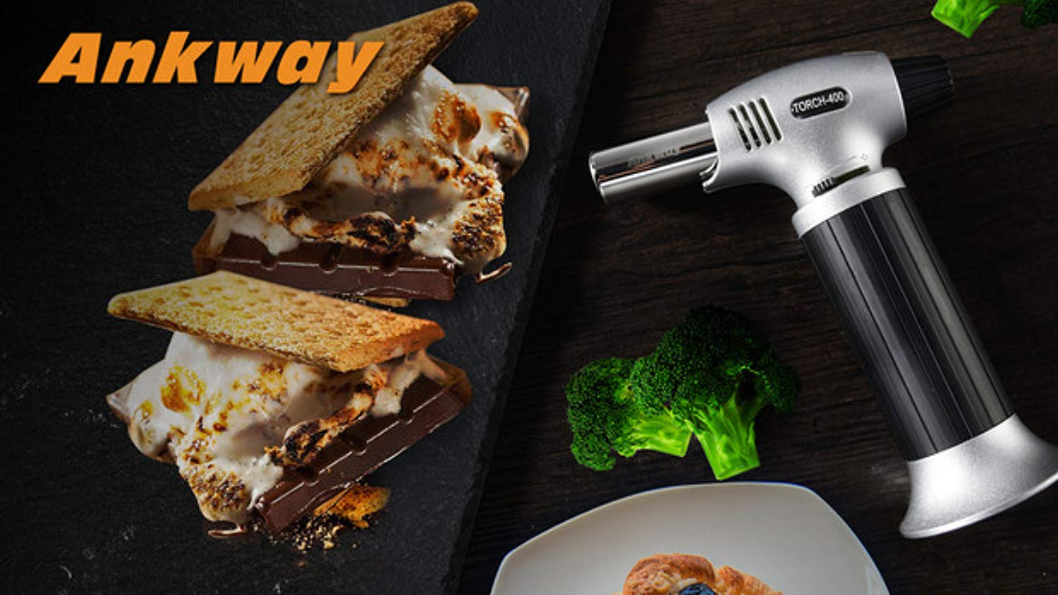 Ankway Culinary Butane Torch Lighter Refillable Kitchen Torch with Safety Lock & Adjustable Flame Food Torch Blow Torch for Creme Brulee, Cooking, Baking, DIY, Soldering, Welding, Searing, MAX 2500°F