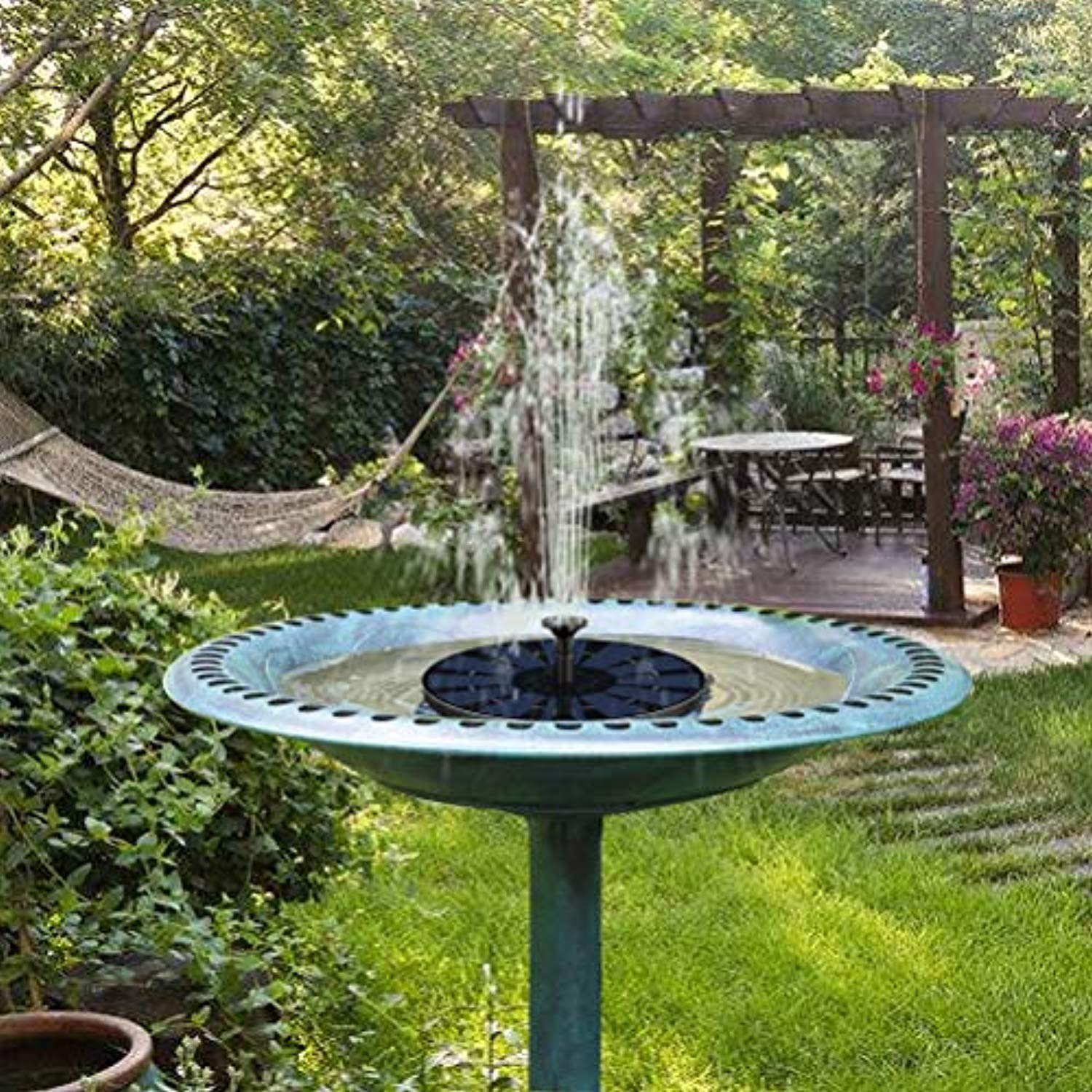 Ankway 2.5W Solar Powered Fountain Pump with Built-in Battery (2019 Newest), Free Standing Solar Fountain Pump High Efficiency Outdoor Water Pumps for Bird Bath Pond Garden Decoration