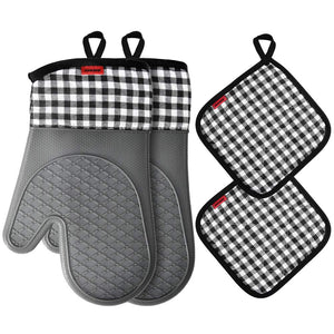 Ankway Oven Mitts and Pot Holders, Kitchen Counter Safe Trivet Mats Advanced Heat Resistant Oven Mittens, Non-Slip Textured Grip Potholders