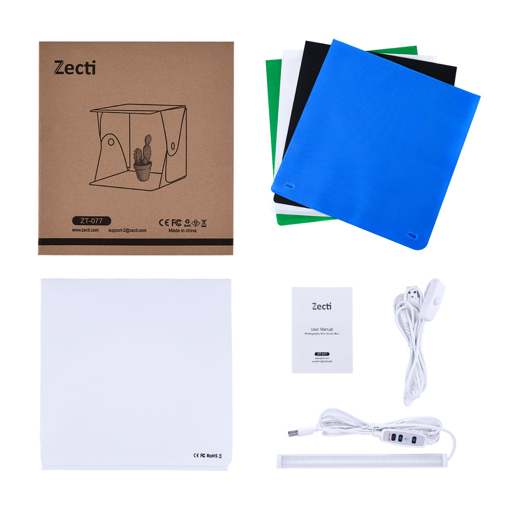 Zecti 12x12 inch/30x30cm Portable Photo Studio Box, Table Top Photo Photography Studio Lighting Light Tent Kit with 2 Adjustable LED Strip Lights and 4 Backdrops