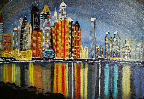 Daniel Tied - Dubai-Skyline von The Palm