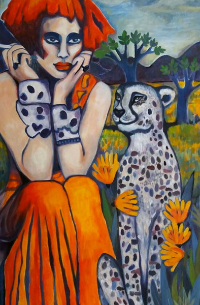 Gabi Domenig - Savannah & her cheeta in front of the purple hills