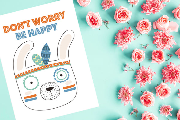 Don't worry, be happy Poster Kunstdruck - Kunst für Kinder, KUNST-ONLINE Wandbild