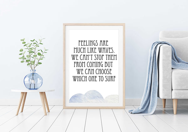 Feelings are much like waves Poster Kunstdruck - Typografie, KUNST-ONLINE Wandbild