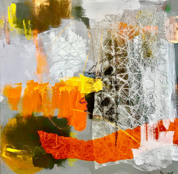 Heike Ponge - Collage orange gelb grau