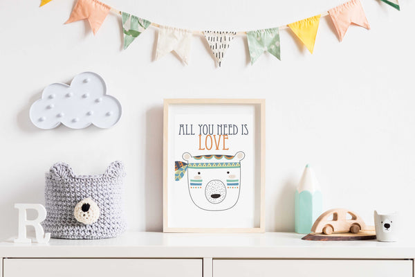 All you need is love Poster Kunstdruck - Kunst für Kinder, KUNST-ONLINE Wandbild