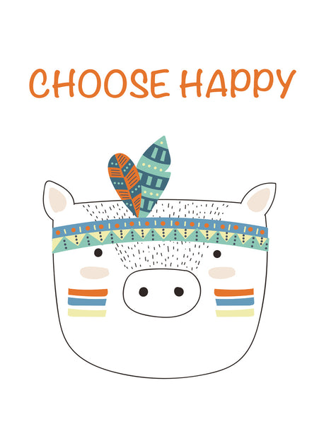 Choose happy Poster Kunstdruck - Kunst für Kinder, KUNST-ONLINE Wandbild
