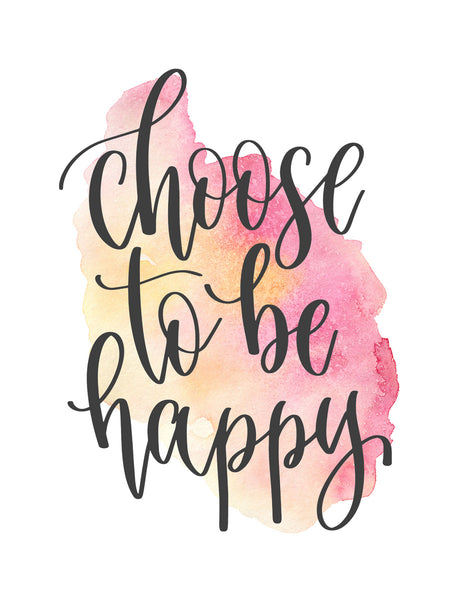 Choose to be happy Poster Kunstdruck - Typografie, KUNST-ONLINE Wandbild