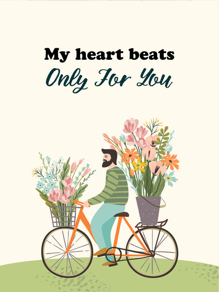 My heart beats only for you Poster Kunstdruck - Illustration Typografie, KUNST-ONLINE Wandbild