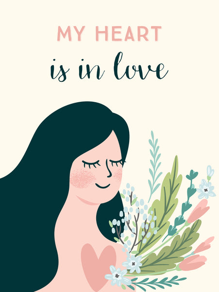 My heart is in love Poster Kunstdruck - Illustration Typografie, KUNST-ONLINE Wandbild