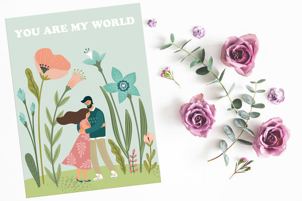 You are my world Poster Kunstdruck - Illustration Typografie, KUNST-ONLINE Wandbild