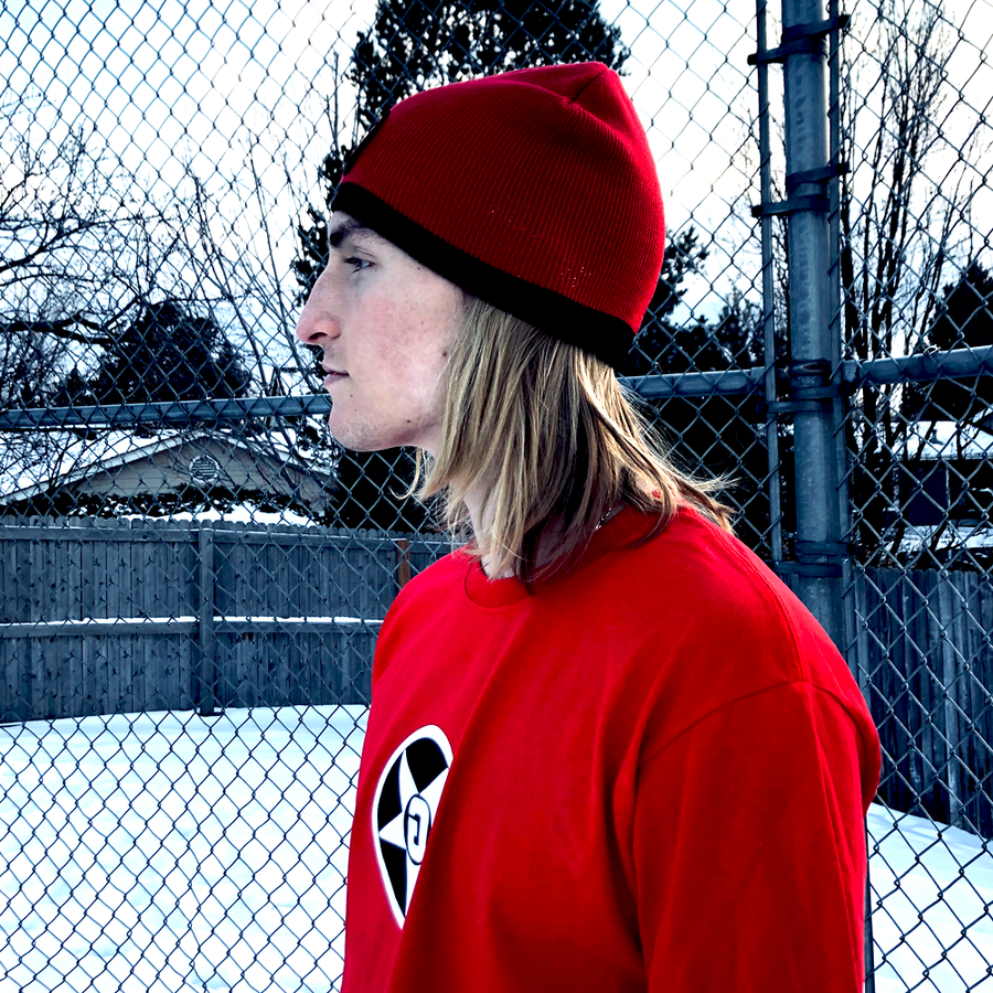 Godless Industries - The Red / Black Two Tone Knit Beanie