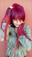 Fringe Fingerless Gloves in RED with Cochineal <3