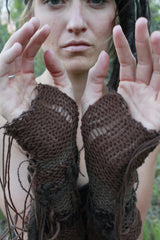Fingerless glove with Buffalo Fur Yarns