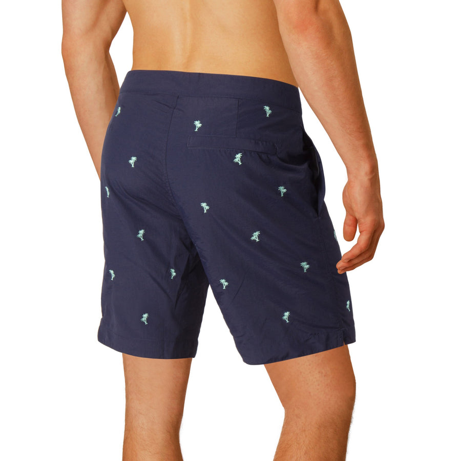 "Aruba 8.5"" Navy Embroidered Palms Swim Trunks"
