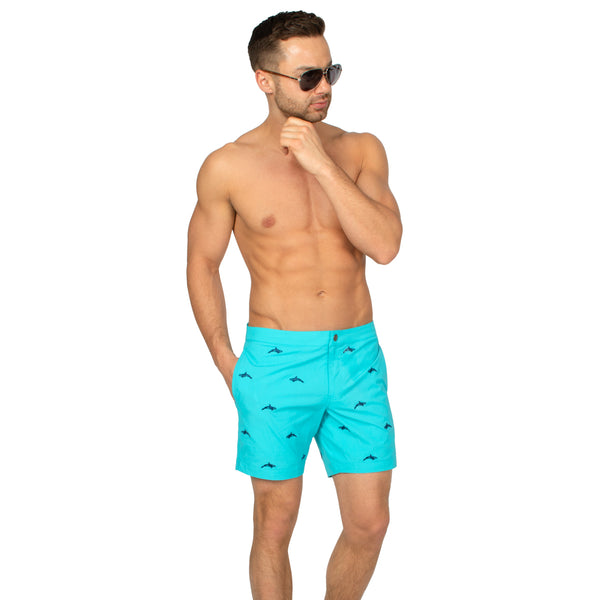 4 way stretch bright blue swim trunks