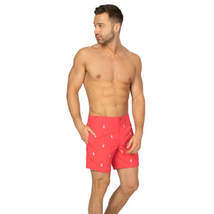 "Aruba 6.5"" Coral Embroidered Cactus Swim Trunks"