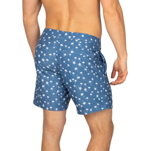 "Aruba 6.5"" Denim Palm Trees Swim Trunks"