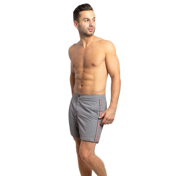 "Aruba 6.5"" Grey French Stripes Swim Trunks"