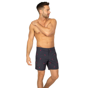 "Aruba 6.5"" Cable Grey Embroidered Herons Swim Trunks"