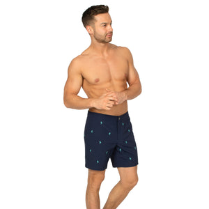 "Aruba 6.5"" Navy Embroidered Palms Swim Trunks"